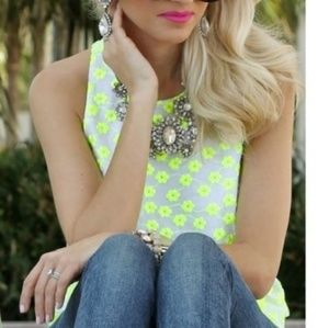 J CREW Embroidered Neon Yellow Top